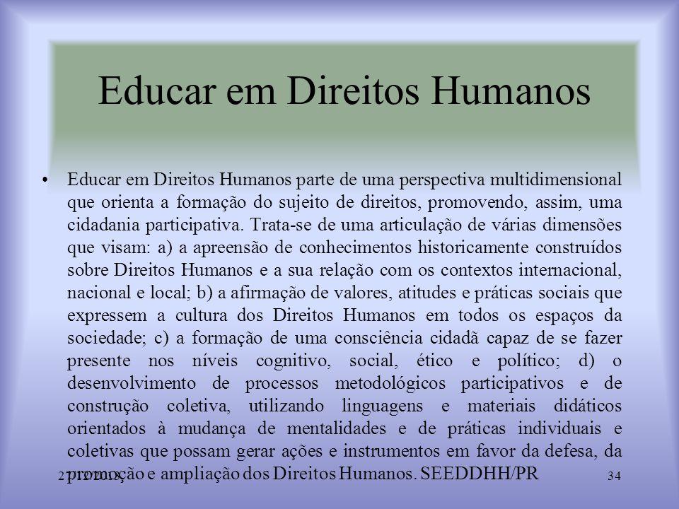 Educar em Direitos Humanos Educar em Direitos Humanos parte de uma perspectiva multidimensional que orienta a formação do sujeito de direitos, promove