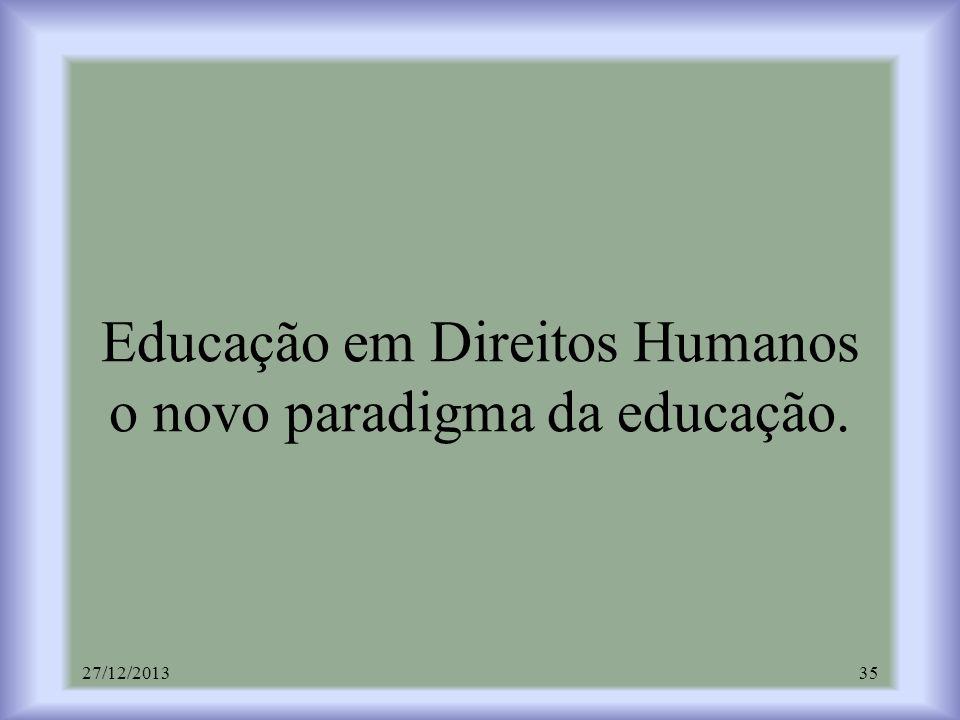 Educação em Direitos Humanos o novo paradigma da educação. 27/12/201335