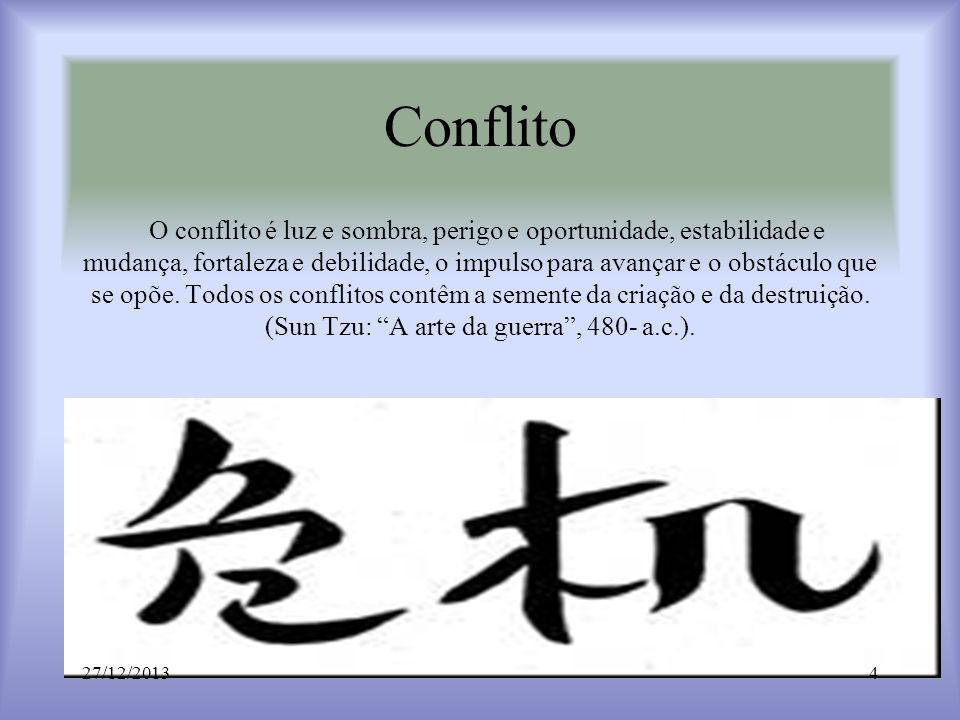 Conflito O conflito é luz e sombra, perigo e oportunidade, estabilidade e mudança, fortaleza e debilidade, o impulso para avançar e o obstáculo que se