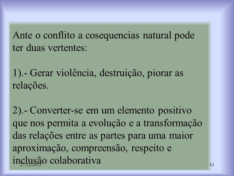 Ante o conflito a cosequencias natural pode ter duas vertentes: 1).- Gerar violência, destruição, piorar as relações. 2).- Converter-se em um elemento