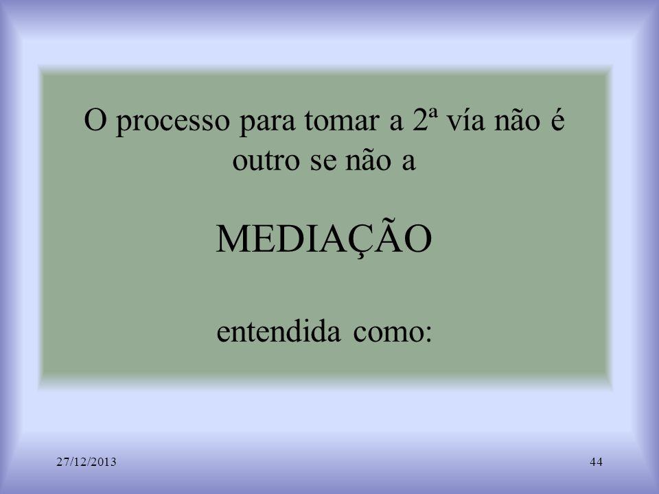 O processo para tomar a 2ª vía não é outro se não a MEDIAÇÃO entendida como: 27/12/201344