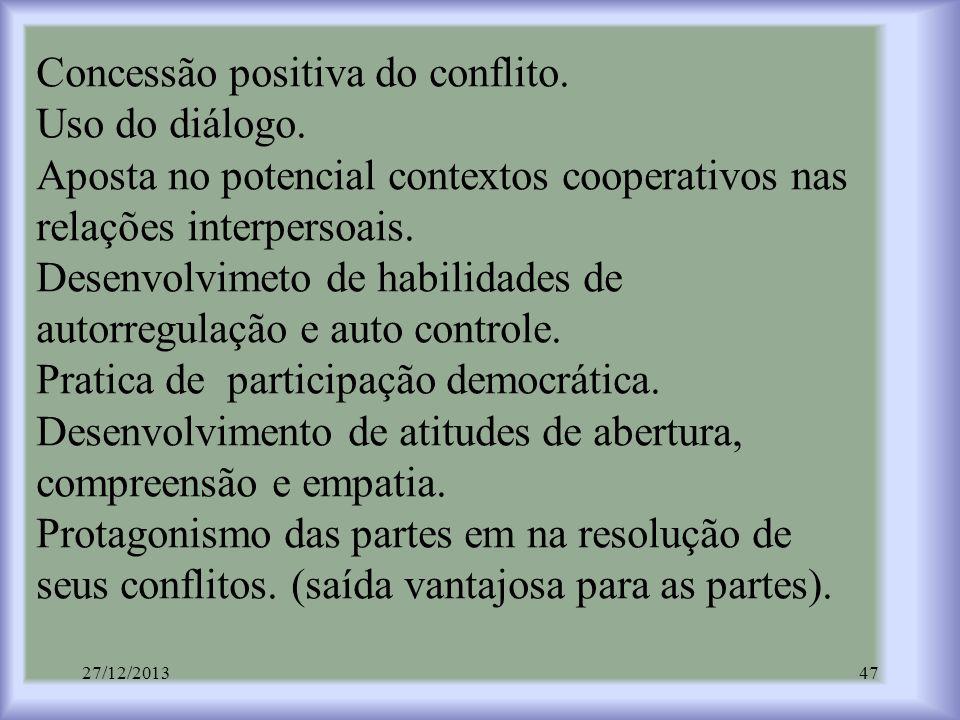 Concessão positiva do conflito. Uso do diálogo. Aposta no potencial contextos cooperativos nas relações interpersoais. Desenvolvimeto de habilidades d