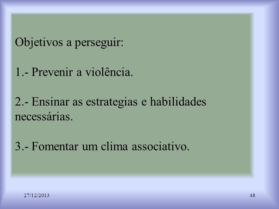 Objetivos a perseguir: 1.- Prevenir a violência. 2.- Ensinar as estrategias e habilidades necessárias. 3.- Fomentar um clima associativo. 27/12/201348