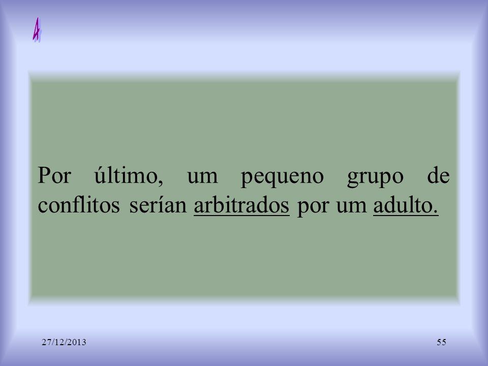 Por último, um pequeno grupo de conflitos serían arbitrados por um adulto. 27/12/201355