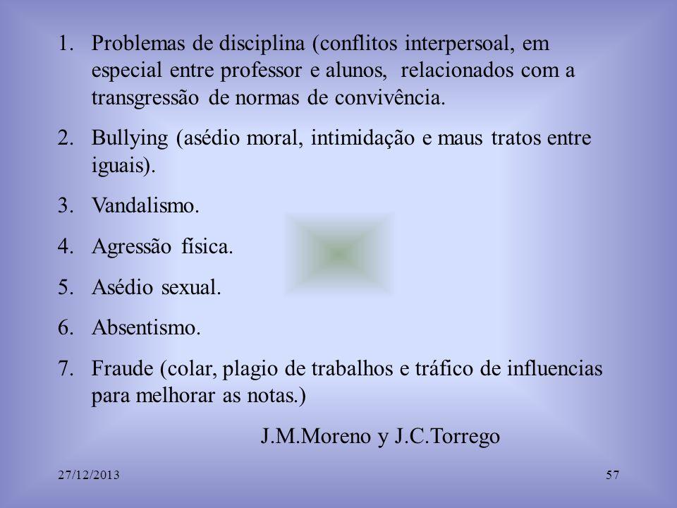 1.Problemas de disciplina (conflitos interpersoal, em especial entre professor e alunos, relacionados com a transgressão de normas de convivência. 2.B