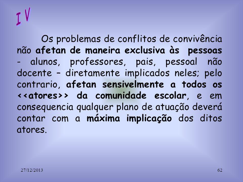 Os problemas de conflitos de convivência não afetan de maneira exclusiva às pessoas - alunos, professores, pais, pessoal não docente – diretamente imp