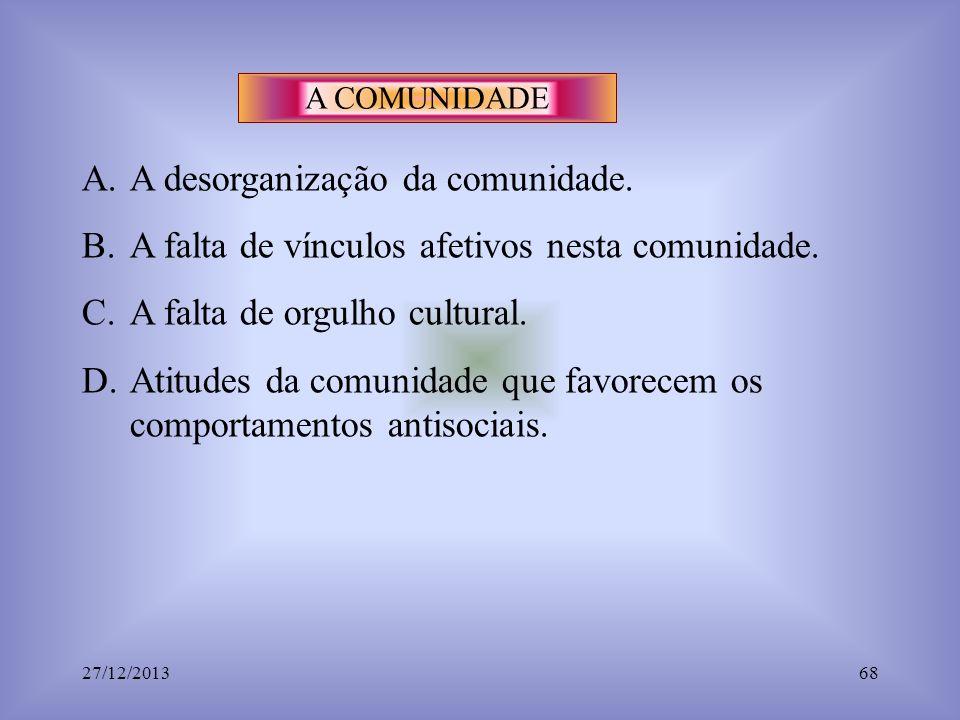 A COMUNIDADE A.A desorganização da comunidade. B.A falta de vínculos afetivos nesta comunidade. C.A falta de orgulho cultural. D.Atitudes da comunidad