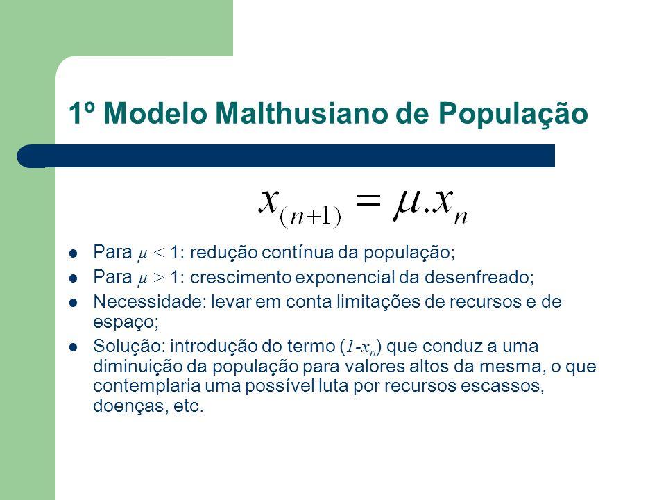 1º Modelo Malthusiano de População Para µ < 1: redução contínua da população; Para µ > 1: crescimento exponencial da desenfreado; Necessidade: levar e