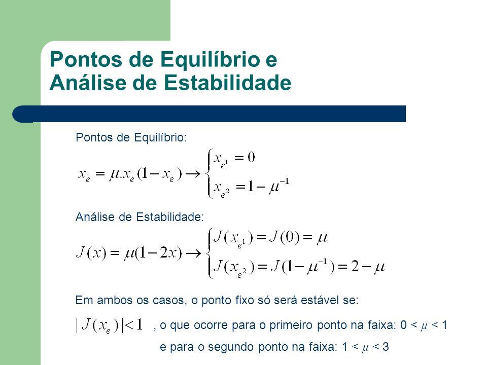 Pontos de Equilíbrio e Análise de Estabilidade Pontos de Equilíbrio: Análise de Estabilidade: Em ambos os casos, o ponto fixo só será estável se:, o q