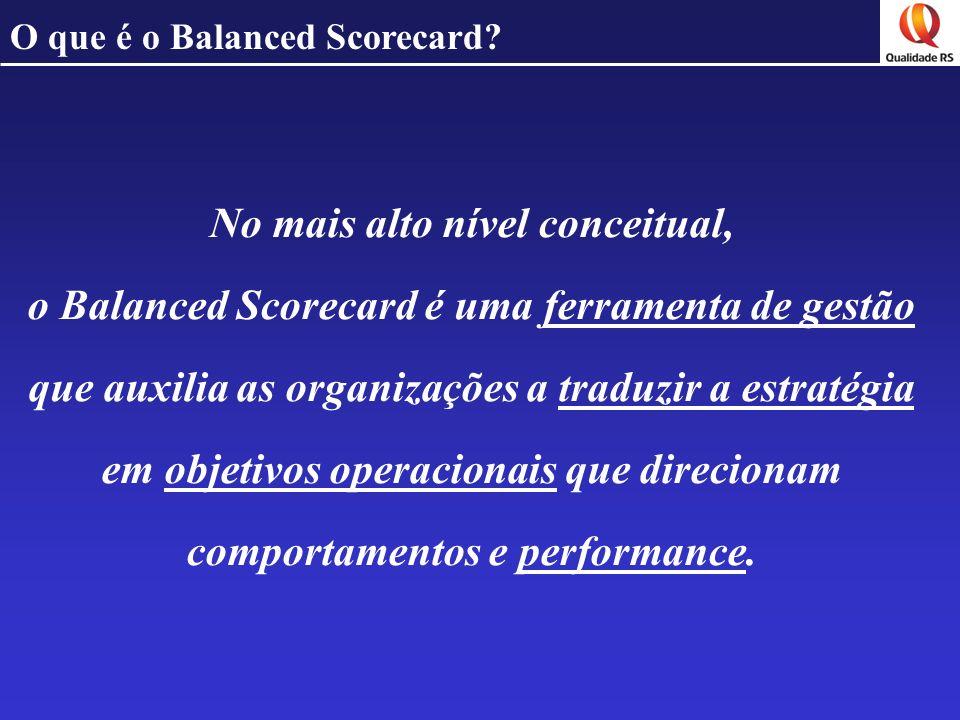 O que é o Balanced Scorecard? No mais alto nível conceitual, o Balanced Scorecard é uma ferramenta de gestão que auxilia as organizações a traduzir a