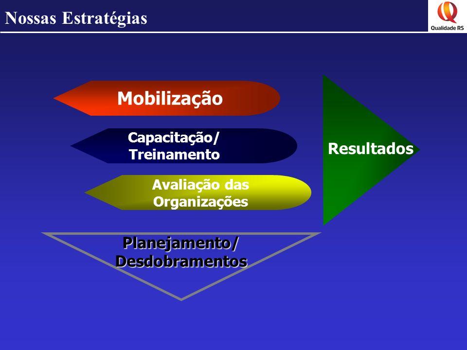 Nossas Estratégias Mobilização Avaliação das Organizações Capacitação/ Treinamento Resultados Planejamento/ Desdobramentos