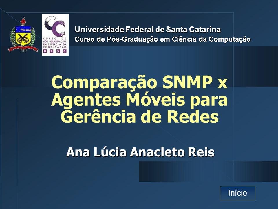 Comparação SNMP x Agentes Móveis para Gerência de Redes Ana Lúcia Anacleto Reis Universidade Federal de Santa Catarina Curso de Pós-Graduação em Ciênc