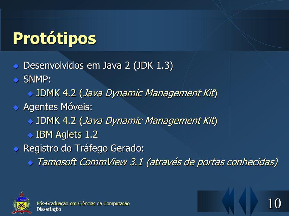 10 Pós-Graduação em Ciências da Computação Dissertação Protótipos Desenvolvidos em Java 2 (JDK 1.3) Desenvolvidos em Java 2 (JDK 1.3) SNMP: SNMP: u JD