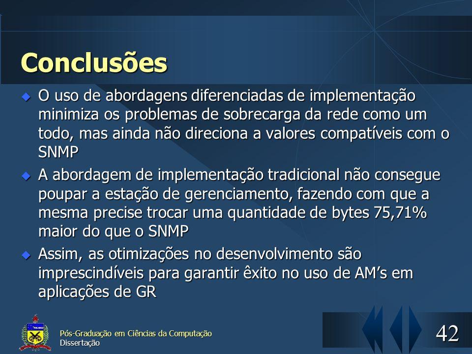 42 Pós-Graduação em Ciências da Computação Dissertação Conclusões O uso de abordagens diferenciadas de implementação minimiza os problemas de sobrecar