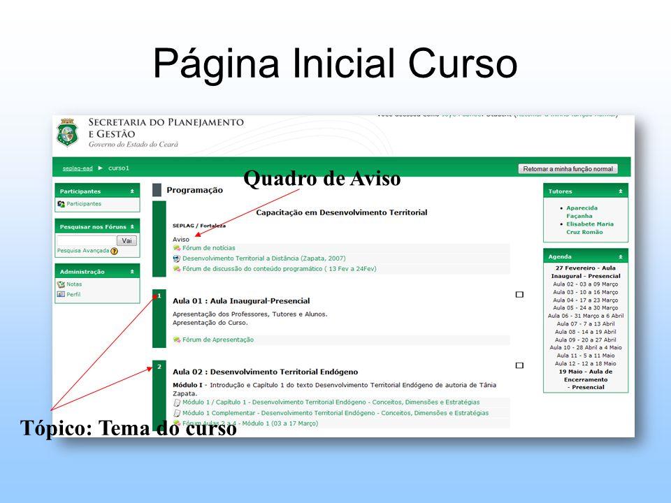 Página Inicial Curso Tópico: Tema do curso Quadro de Aviso