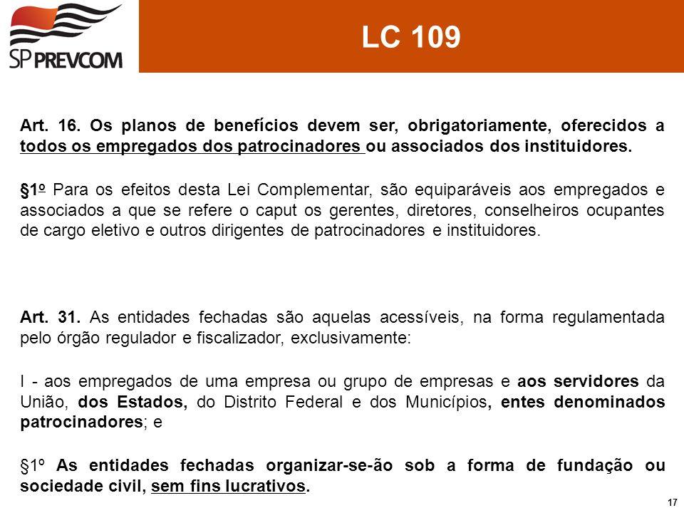 LC 109 Art. 16. Os planos de benefícios devem ser, obrigatoriamente, oferecidos a todos os empregados dos patrocinadores ou associados dos instituidor