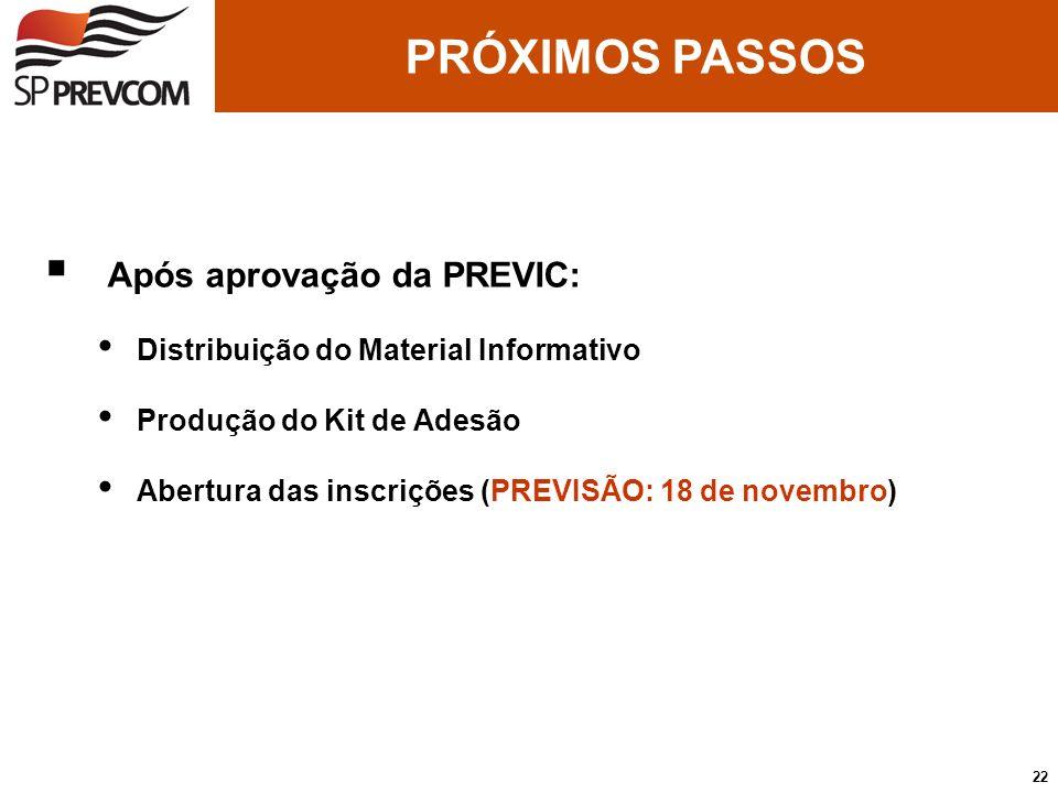 Após aprovação da PREVIC: Distribuição do Material Informativo Produção do Kit de Adesão Abertura das inscrições (PREVISÃO: 18 de novembro) PRÓXIMOS P