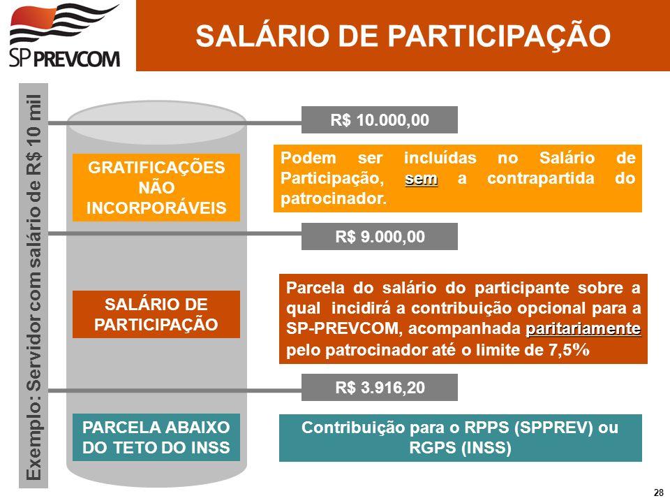 R$ 3.916,20 R$ 9.000,00 Contribuição para o RPPS (SPPREV) ou RGPS (INSS) paritariamente Parcela do salário do participante sobre a qual incidirá a con