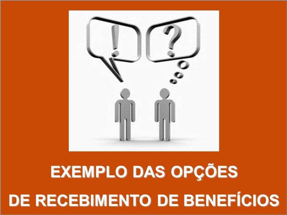 EXEMPLO DAS OPÇÕES DE RECEBIMENTO DE BENEFÍCIOS