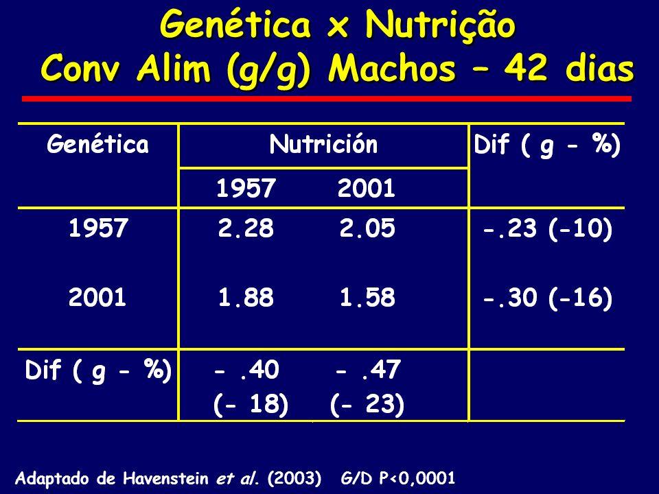 Genética x Nutrição Conv Alim (g/g) Machos – 42 dias Genética x Nutrição Conv Alim (g/g) Machos – 42 dias Adaptado de Havenstein et al. (2003) G/D P<0