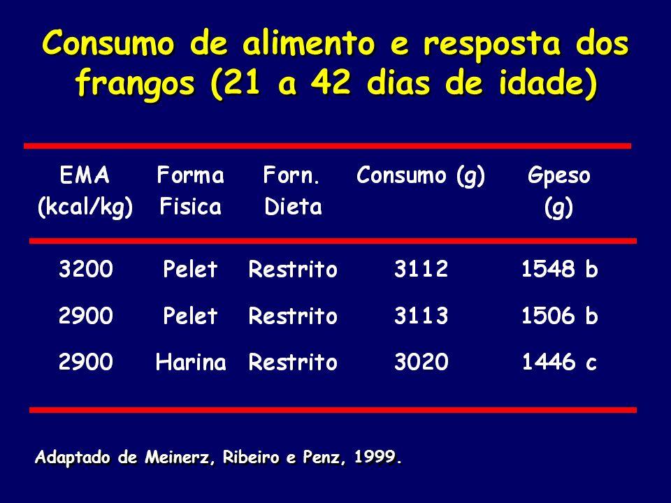 Consumo de alimento e resposta dos frangos (21 a 42 dias de idade) Adaptado de Meinerz, Ribeiro e Penz, 1999.