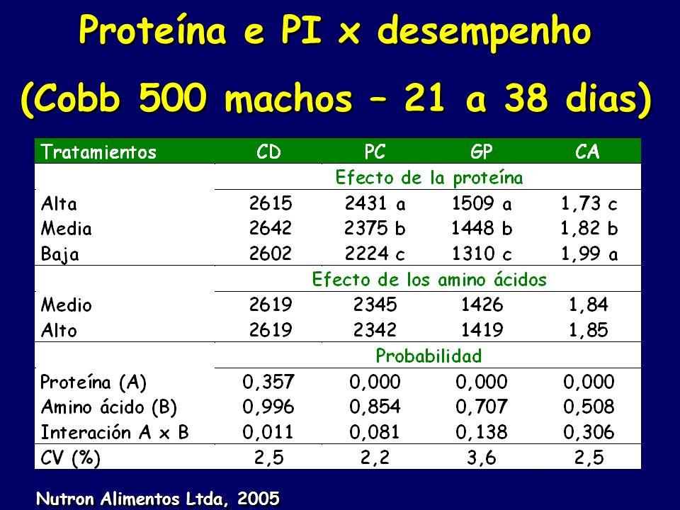 Proteína e PI x desempenho (Cobb 500 machos – 21 a 38 dias) Proteína e PI x desempenho (Cobb 500 machos – 21 a 38 dias) Nutron Alimentos Ltda, 2005