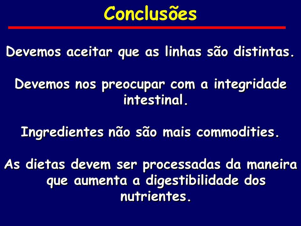 Conclusões Devemos aceitar que as linhas são distintas. Devemos nos preocupar com a integridade intestinal. Ingredientes não são mais commodities. As