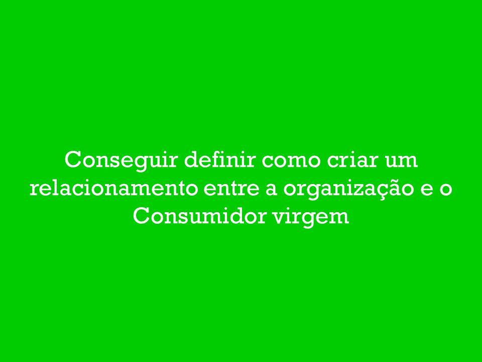 Conseguir definir como criar um relacionamento entre a organização e o Consumidor virgem