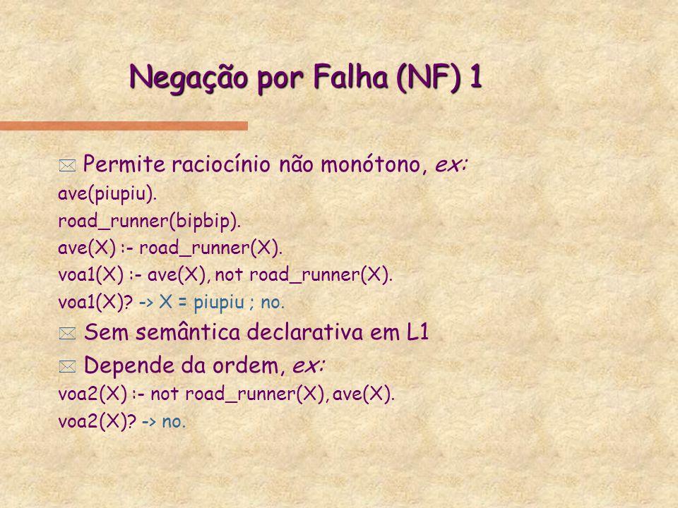 Negação por Falha 2 * NF pode ser implementado apenas com !, fail (nunca verificado) e true (sempre verificado), ex: voa3(X) :- road_runner(X), !, fail.