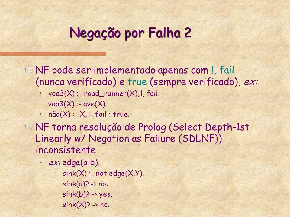 Negação por Falha 2 * NF pode ser implementado apenas com !, fail (nunca verificado) e true (sempre verificado), ex: voa3(X) :- road_runner(X), !, fai