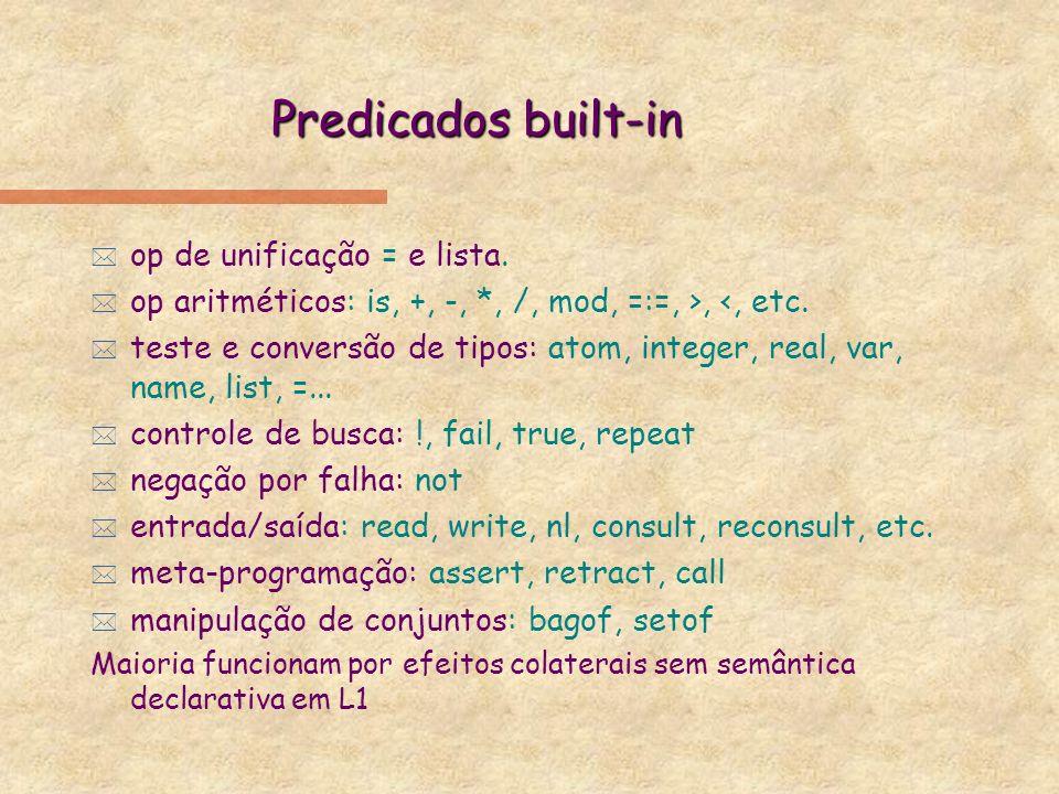 Prolog: operadores * Predicados binários ou unários sem parênteses: precedência: inteiro entre 1 e 255 posição: prefixo, infixo, sufixo associatividade: esquerda, direita, ambos * Built-in:.