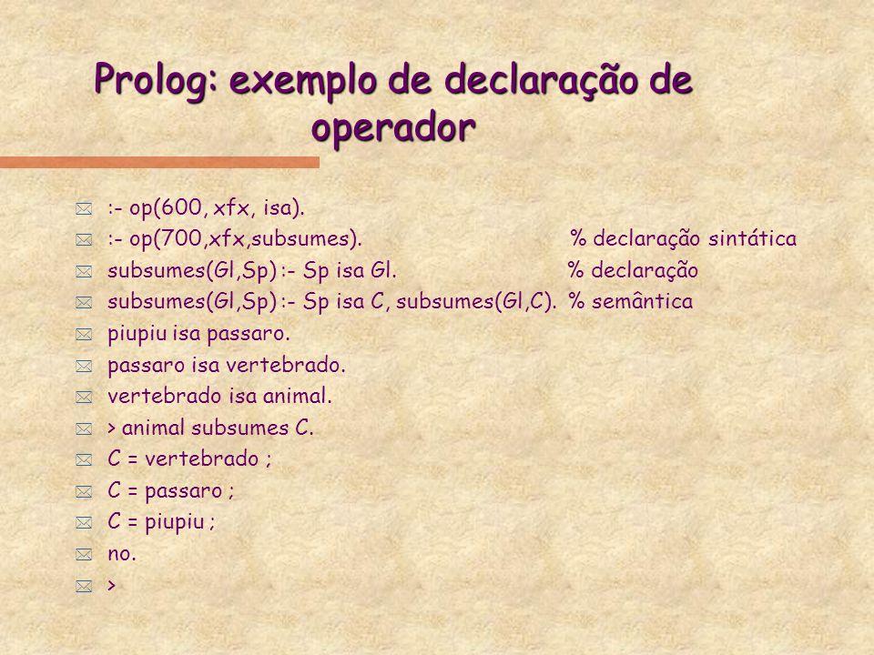 Igualdade x unificação * Ao invés de L1, Prolog não inclui operador de igualdade semântica.