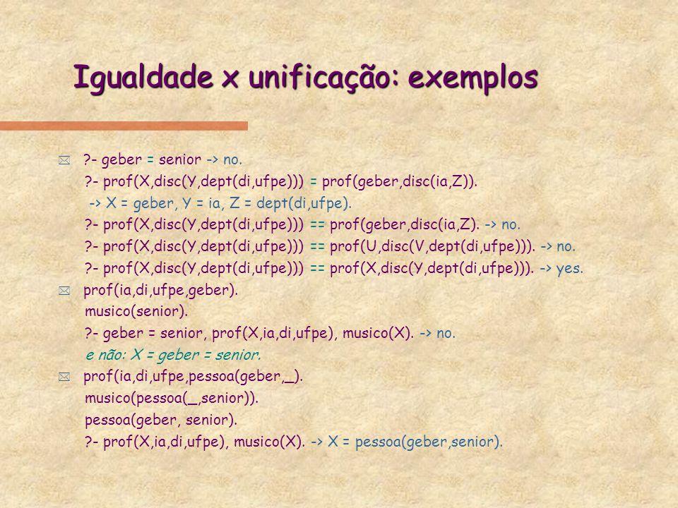 Prolog: listas * [ e ]: início e fim de lista, separação entre eltos |: separação entre 1o elto e resto da lista açúcar sintático para predicado.(Head,Tail) ex.: [a,[b,c],d] açúcar sintático para.(a,.(.(b,.(c,[])),.(d,[]))) * ?- [a,b,X,p(Y,C)] = [Head|Tail] Head = a, Tail = [b,X,p(Y,C)] ?- [[p(X),[a]],q([b,c])] = [[H|T1]|T2] H = p(X), T1 = [[a]], T2 = [q([b,c])] * member(X,[X|_]).