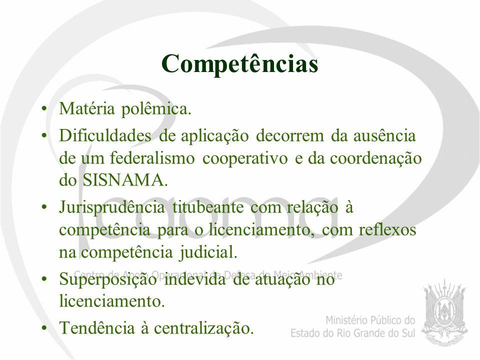 Competências Matéria polêmica. Dificuldades de aplicação decorrem da ausência de um federalismo cooperativo e da coordenação do SISNAMA. Jurisprudênci