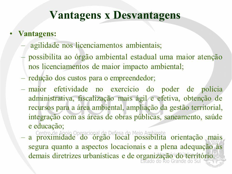 Vantagens x Desvantagens Vantagens: – agilidade nos licenciamentos ambientais; –possibilita ao órgão ambiental estadual uma maior atenção nos licencia