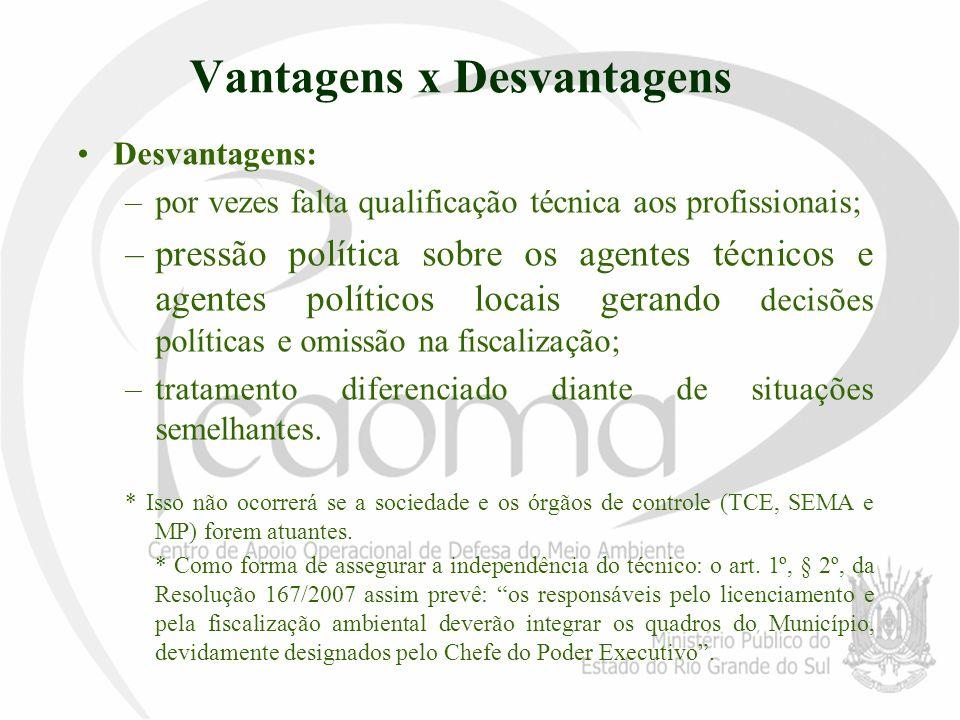 Vantagens x Desvantagens Desvantagens: –por vezes falta qualificação técnica aos profissionais; –pressão política sobre os agentes técnicos e agentes
