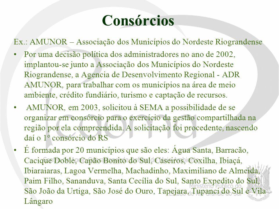 Consórcios Ex.: AMUNOR – Associação dos Municípios do Nordeste Riograndense Por uma decisão política dos administradores no ano de 2002, implantou-se
