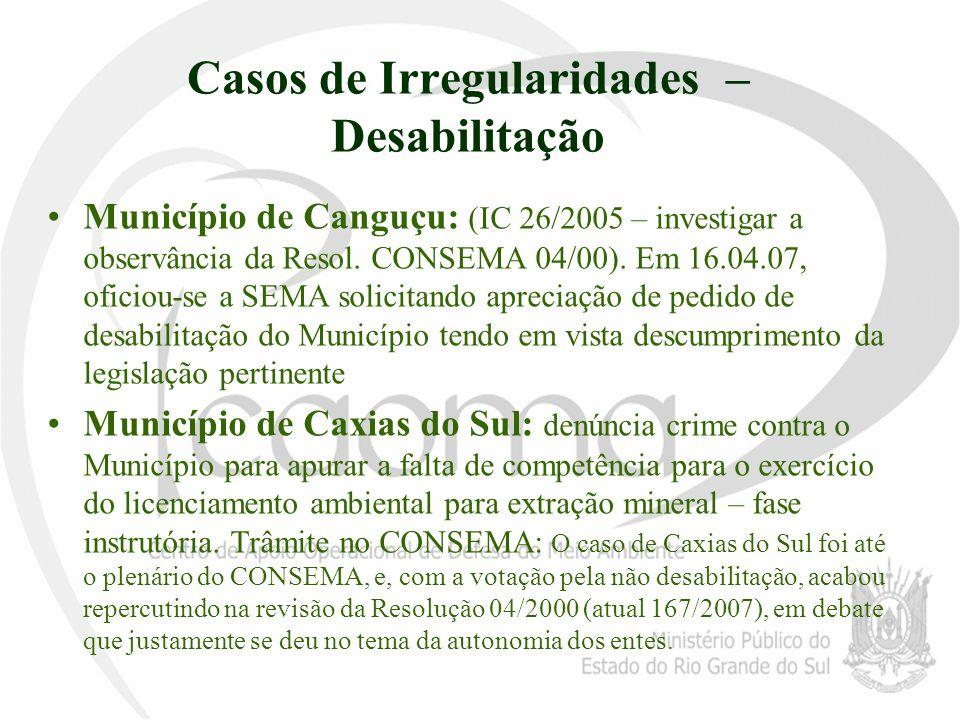 Casos de Irregularidades – Desabilitação Município de Canguçu: (IC 26/2005 – investigar a observância da Resol. CONSEMA 04/00). Em 16.04.07, oficiou-s