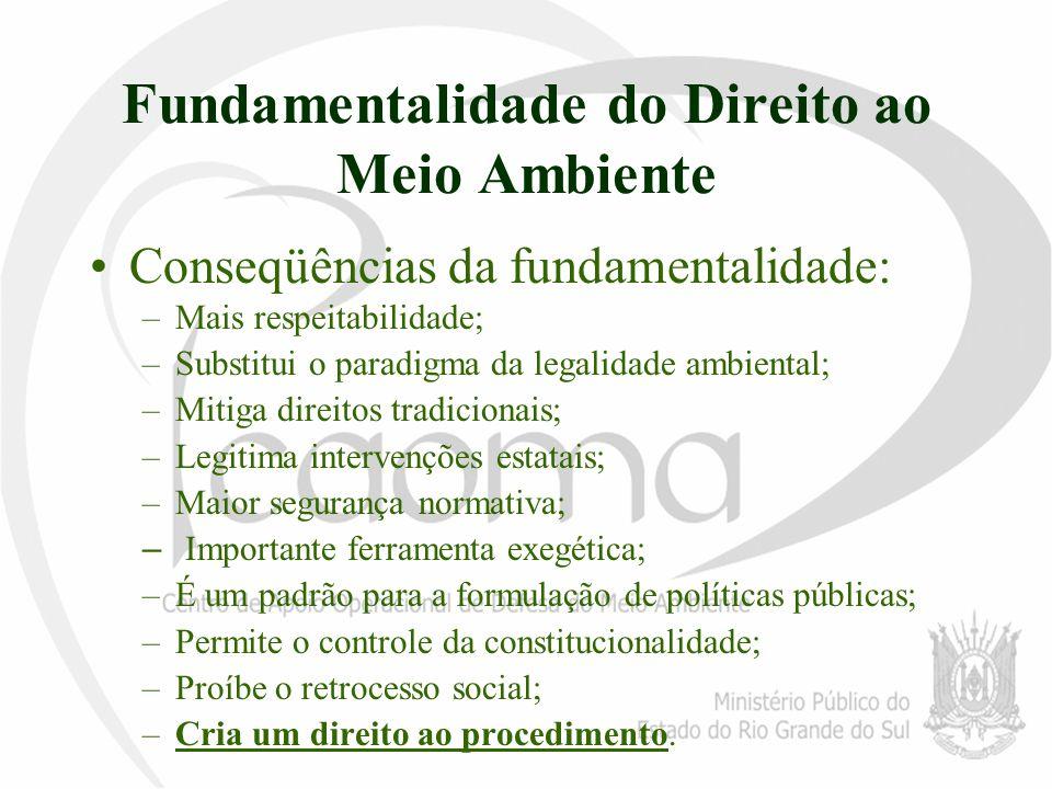 Fundamentalidade do Direito ao Meio Ambiente Conseqüências da fundamentalidade: –Mais respeitabilidade; –Substitui o paradigma da legalidade ambiental