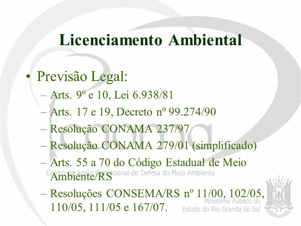 Licenciamento Ambiental Previsão Legal: –Arts. 9º e 10, Lei 6.938/81 –Arts. 17 e 19, Decreto nº 99.274/90 –Resolução CONAMA 237/97 –Resolução CONAMA 2