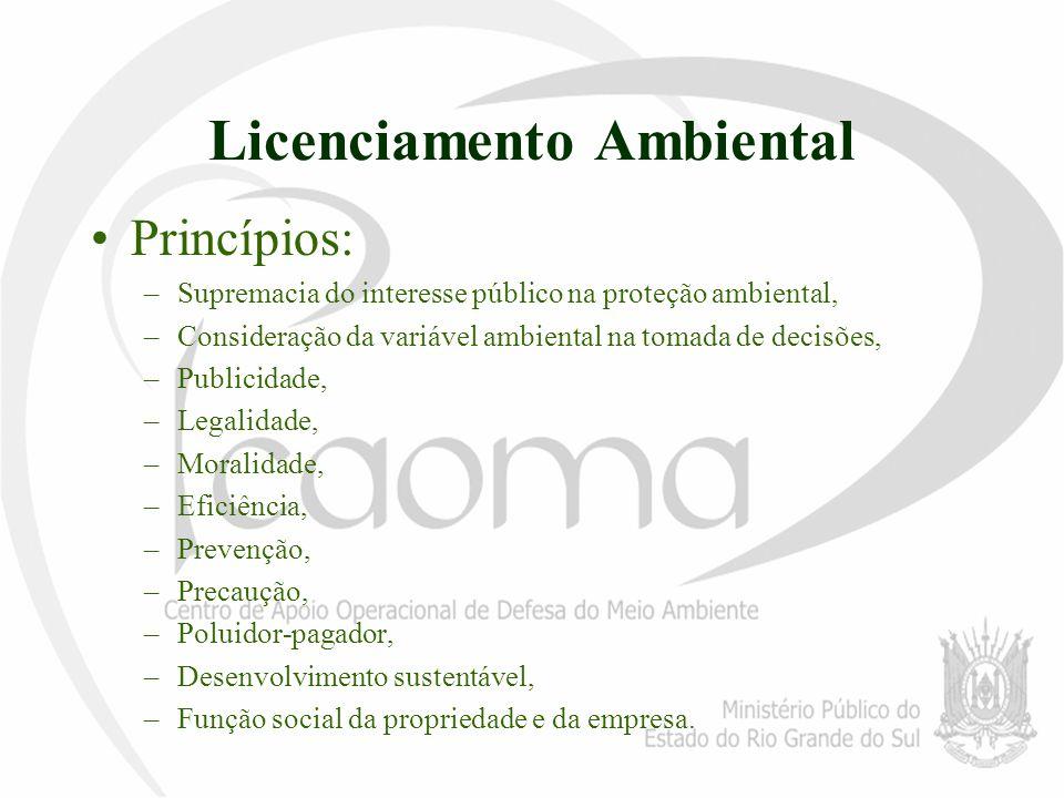 Licenciamento Ambiental Princípios: –Supremacia do interesse público na proteção ambiental, –Consideração da variável ambiental na tomada de decisões,