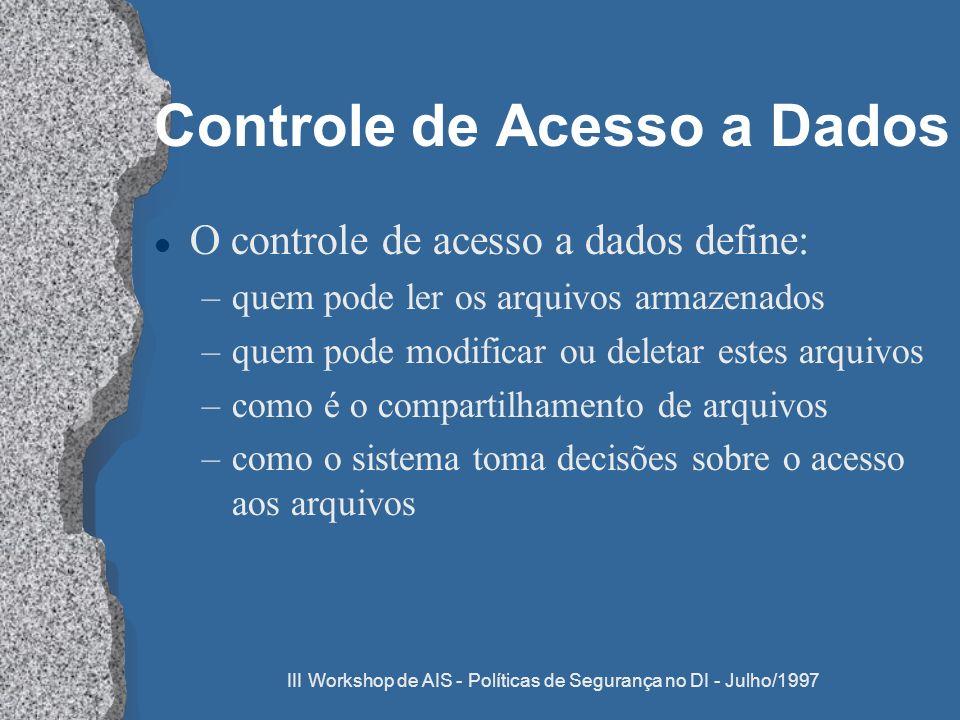 III Workshop de AIS - Políticas de Segurança no DI - Julho/1997 Controle de Acesso a Dados l O controle de acesso a dados define: –quem pode ler os ar