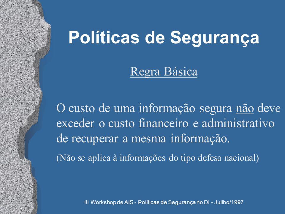 III Workshop de AIS - Políticas de Segurança no DI - Jullho/1997 Políticas de Segurança Regra Básica O custo de uma informação segura não deve exceder