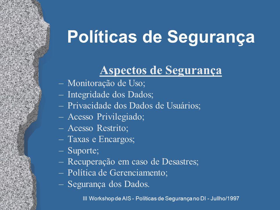 III Workshop de AIS - Políticas de Segurança no DI - Jullho/1997 Políticas de Segurança Aspectos de Segurança –Monitoração de Uso; –Integridade dos Da
