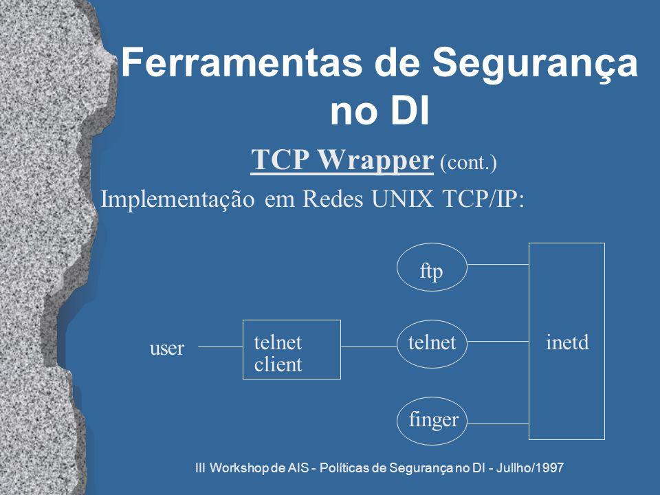 III Workshop de AIS - Políticas de Segurança no DI - Jullho/1997 Ferramentas de Segurança no DI TCP Wrapper (cont.) Implementação em Redes UNIX TCP/IP