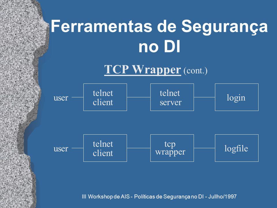 III Workshop de AIS - Políticas de Segurança no DI - Jullho/1997 Ferramentas de Segurança no DI TCP Wrapper (cont.) login telnet server telnet client