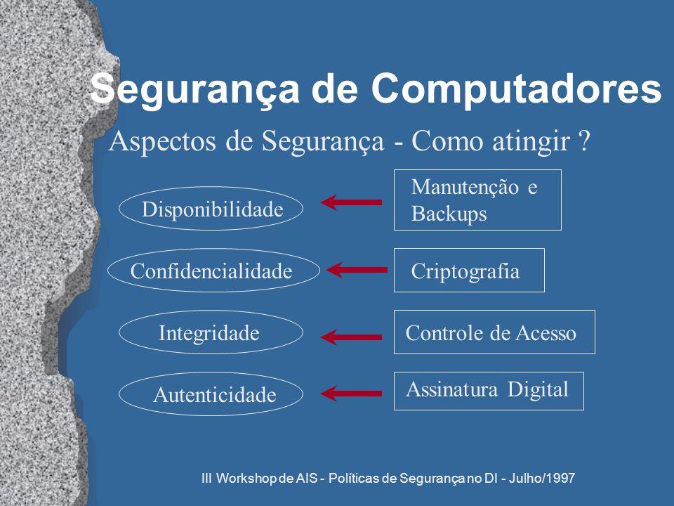 III Workshop de AIS - Políticas de Segurança no DI - Julho/1997 Segurança de Computadores Aspectos de Segurança - Como atingir ? DisponibilidadeAutent