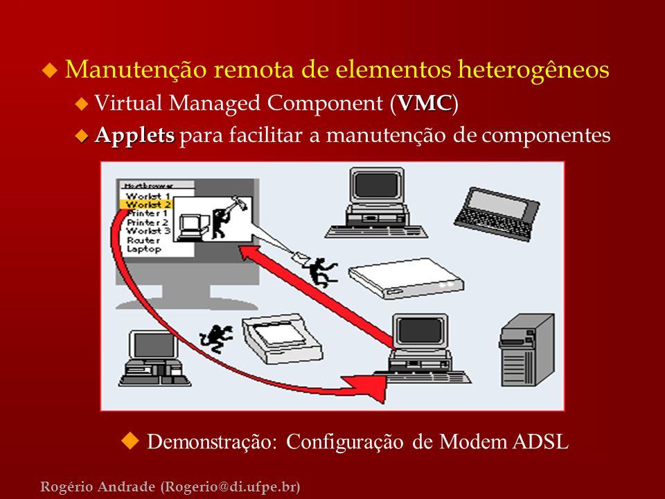 Rogério Andrade (Rogerio@di.ufpe.br) u Manutenção remota de elementos heterogêneos VMC u Virtual Managed Component ( VMC ) u Applets u Applets para fa