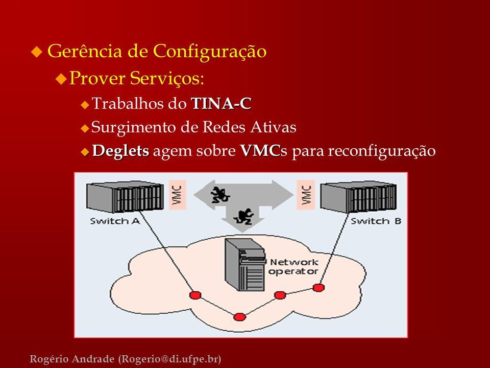 Rogério Andrade (Rogerio@di.ufpe.br) u Gerência de Configuração u Prover Serviços: TINA-C u Trabalhos do TINA-C u Surgimento de Redes Ativas u Deglets