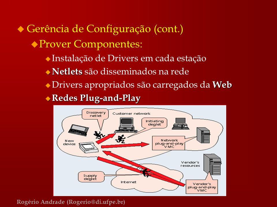 Rogério Andrade (Rogerio@di.ufpe.br) u Gerência de Configuração (cont.) u Prover Componentes: u Instalação de Drivers em cada estação u Netlets u Netl